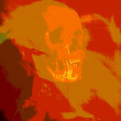 Red human skull — Stock Photo