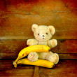 Teddy bear witn fruit — Stock Photo