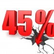 Forty five percent down — Stock Photo