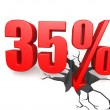 Thirty five percent down — Stock Photo
