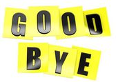 Good bye in yellow note — Stock Photo