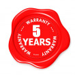 Five years warranty seal — Stock Photo