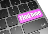 Find love with black keyboard — Stockfoto
