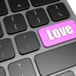 Love with black keyboard — Stock Photo
