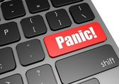 Panic with black keyboard — Stock Photo