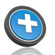 Stock Photo: Cross round icon in blue