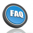 FAQ round icon in blue — Stock Photo