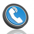 Phone round icon in blue — Stock Photo