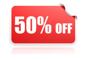 50 percent off sticker — Stock Photo
