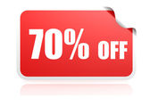 70 percent off sticker — Stock Photo
