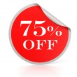 Red round sticker for 75 percent discount — Stock Photo #34552391