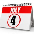 July 4 calendar — Stock Photo