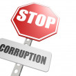 Stock Photo: Stop corruption road sign