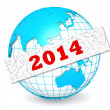 Globe with 2014 word — Stock Photo