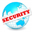 Globe with security word — Stock Photo