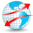 Up down red arrow with globe — Stock Photo