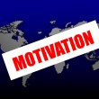 Motivation word on the blue world map — Stock Photo