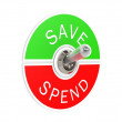 Save spend toggle switch — Stock Photo