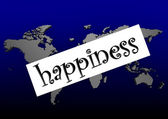 Happiness word on the blue world map — Stockfoto