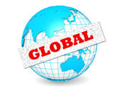 Globe with global word — Stock fotografie
