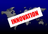 Innovation word on the blue world map — Stockfoto