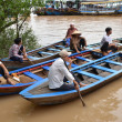Boat man on Mekong river — Stock Photo