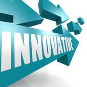 Innovative arrow blue — Stock Photo