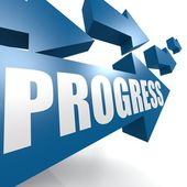 Progress arrow blue — Stock Photo