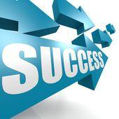 Erfolg pfeil in blau — Stockfoto
