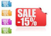 Sale 15 percent label set — Stock Photo
