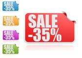 Sale 35 percent label set — Stock Photo