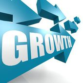 Growth arrow in blue — Stok fotoğraf