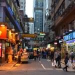 Street view of Hong Kong at night — Stock Photo