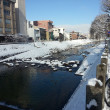 Stock Photo: View of canal in the winter, Japan