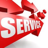 Service arrow in red — Stock Photo
