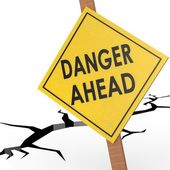 Danger ahead sign board — Stock Photo