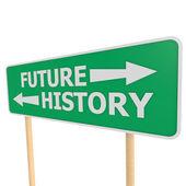 Future history road sign — Stockfoto
