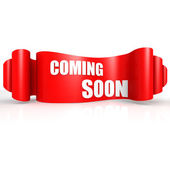 Coming soon red wave ribbon — Stock Photo