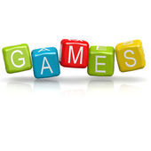 Games cube word — Stock Photo