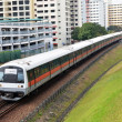 Stock Photo: Singapore mass rapid train travels on track