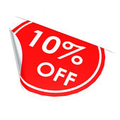 Red circle label 10 percent off — Stock Photo