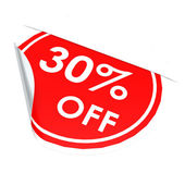 Red circle label 30 percent off — Stock Photo