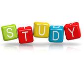 Study cube word — Stock Photo