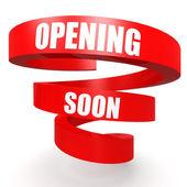 Opening soon red helix banner — Foto de Stock