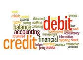Kredit-Debit-Wort-Wolke — Stockfoto