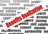 Benefits realization word cloud — Stock Photo