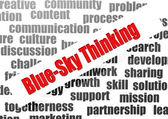 Blue-sky thinking word cloud — Stock Photo