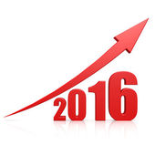 2016 growth red arrow — Stock Photo