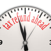Tax refund ahead clock — Foto Stock