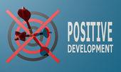 Dart board blue positive development — Stock Photo